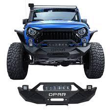 Rock Crawler Black Front Bumper W 60w Led Light Bar For 07 17