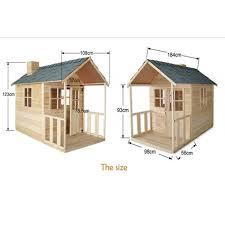 outdoor playhouse wooden cubby house windows verandah green roof