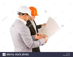 two young structural engineers or architects wearing hardhats