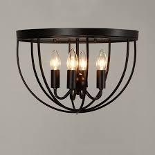 farmhouse semi flush light rustic 4 light black metal round cage semi flush mount ceiling light