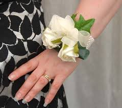 wedding wrist corsage wedding ivory pearl loops handmade on a wrist corsage