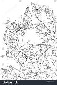 zentangle stylized cartoon butterfly sakura flower stock vector