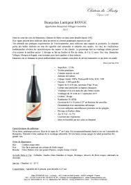 Conservation Vin Rouge Château Du Basty Vins Du Beaujolais Régnié Morgon