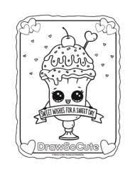coloring page valentine ice cream sundae drawsocute print outs