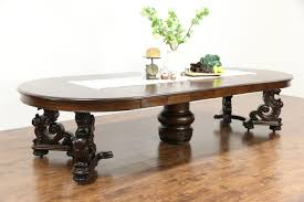 Antiques Dining Tables Oak Griffin Carved 1900 Antique Dining Table 7 Leaves Extends 12