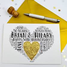 50th wedding anniversary personalised 50th wedding anniversary sparkle card by sew