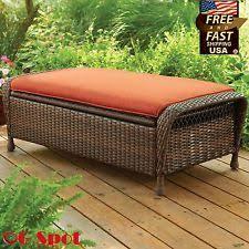 Wicker Storage Bench Outdoor Patio Bench Wicker Storage Ottoman Garden Furniture Porch