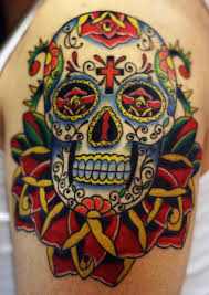 collection of 25 roses and sugar skull on shoulder
