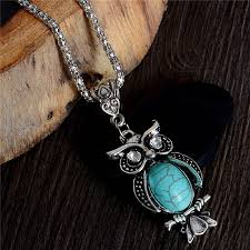 vintage turquoise silver necklace images Vintage turquoise owl necklace on silver chain boho jewelry jpg