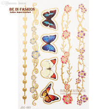 wholesale fashionable gold silver 3d butterfly flower tattoos