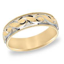 mens two tone gold wedding bands s 6 0mm comfort fit scroll wedding band in 10k two tone gold
