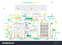 retail shop floor plan commercial interior design landing page linear stock vector