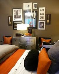 fabulous grey and orange bedroom with additional home decor ideas