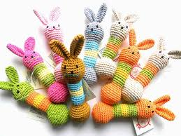 easter bunny gifts baby teething amigurumi rabbit rattle crochet teether inhabitots