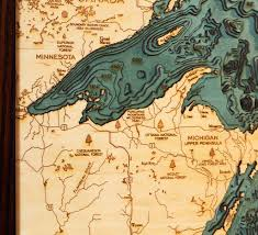 Porcupine Mountains State Park Map by Great Lakes Wood Map Art Great Lakes Picture Michigan Studio