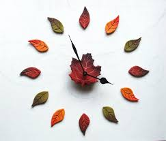 diy wall clock leaves wall decal fall decor red maple leaf
