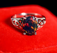 black opal mostly red fire black opal ring natural black opal ring black
