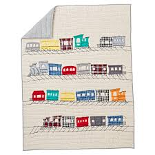 all aboard applique train baby quilt the land of nod