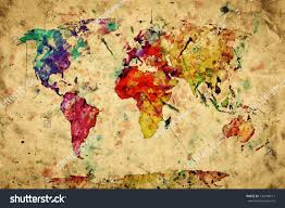 vintage world map colorful paint watercolor stock illustration