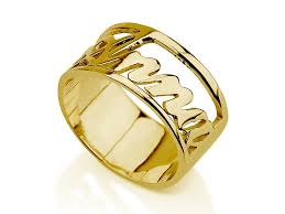 gold name ring 14k gold carrie style name ring jewelry persjewel