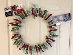 clothes pin christmas card wreath completed crafts pinterest