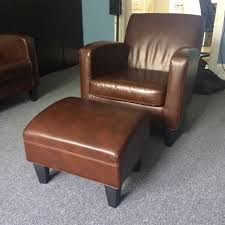 Ikea Sofa Chair by Ikea Jappling Dark Brown Leather Sofa Chair And Footstool