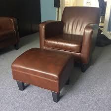 Ikea Leather Sofa Ikea Jappling Dark Brown Leather Sofa Chair And Footstool