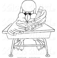 clip art of a coloring page of a bald eagle hawk or falcon student