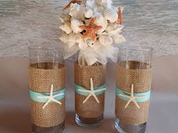 Seashell Centerpieces For Weddings by Set Of 3 Starfish U0026 Burlap Beach Theme Wedding Vases Perfect For