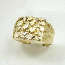 mens gold rings new solid 14k yellow gold large mens diamond cut nugget ring