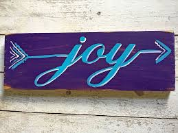 joy arrow wall art decor hand painted wood word sign for home