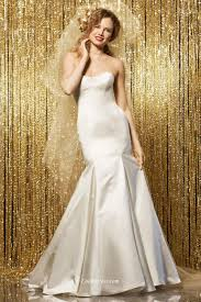 plain mermaid strapless satin bridal gown with cathedral train