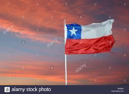 Chile Santiago Flag Sunset Over The Chilean Flag Laguna Chaxa Atacama Desert Chile