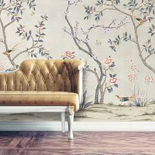 removable fabric wallpaper chinoiserie garden metallic champagne