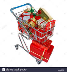 a shopping trolley full of gift wrapped christmas presents