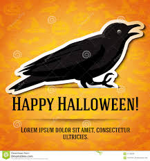 happy halloween greeting card with black raven stock vector