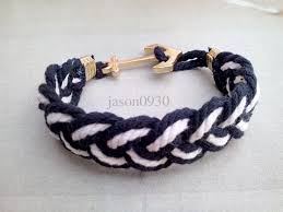 anchor braided bracelet images Latest design handmade can custom fashion brand new white blue jpg