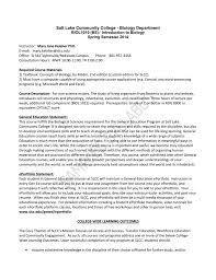 biol 1010 sample syllabus salt lake community college