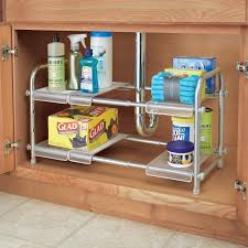 easy home expandable under sink shelf interdesign cabrini under sink organizer 2 tier expandable shelf