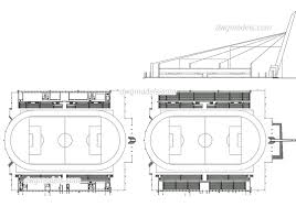 stadium plan elevation autocad drawing free dwg file cad block