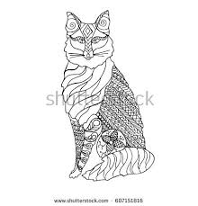 tabby cat coloring pages high detail patterned cat zen tangle stock vector 442805455