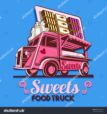 chocolate delivery food truck logotype sweet chocolate praline stock vector 648427294