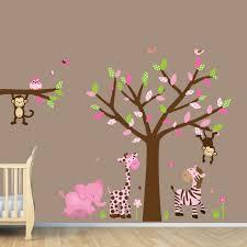kids room tree decals with leaves nursery wall decal gray girl baby wall decal jungle decals monkey giraffe elephant zebra