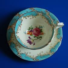 vintage aynsley teacup fine bone china england turquoise blue w