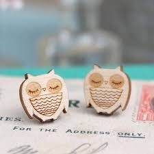 owl stud earrings wooden owl stud earrings by pickle notonthehighstreet