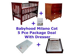 babyhood milano cot package deal 5 piece with dresser bubs n grubs