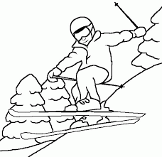 coloring pages of kids skiing coloring home