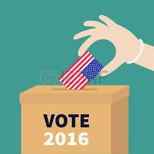 tenue bureau de vote boîte de vote par bulletin de papier drapeau américain concept de