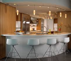 modern kitchen bar design with long curved track lighting set