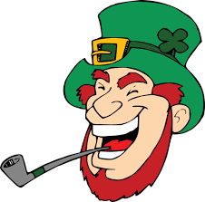 clipart of a laughing leprechaun with a pipe